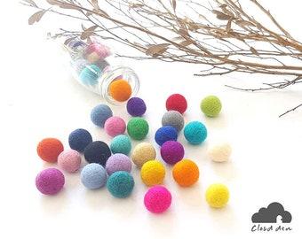 Felt Balls x10 Mixed colours. 2.5cm. Wool. Colourful. Multicoloured. Mix Colour.  25mm felt balls. Multi-colour