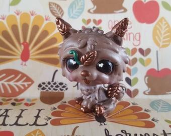 Fall Autumn Falling Leaves  Dog OOAK Custom Littlest Pet Shop Repaint