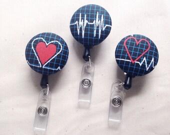 ID Retractable Badge Reel - ID Badge Holder - Badge Reel - Name Badge Holder - Name Badge Nursing - Name Badge Clip - ID Badge Reel Cardiac