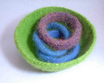 Lime Green Felted Bowl, Limeade