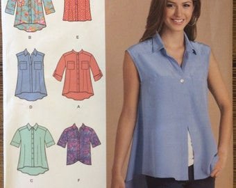 UNCUT Simplicity 1694 Misses' Blouse Sewing Pattern Size XS-XL Button Down, Sleeveless, Collared Shirt, Short Sleeve