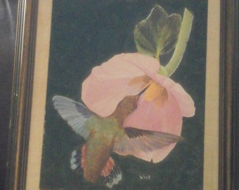 Signed Wise painting hummingbird