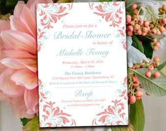 "Bridal Shower Invitation Template - Wedding Shower Invitation - Mint Blue Beach Coral ""Maggie"" - DIY Wedding Template Printable Wedding"