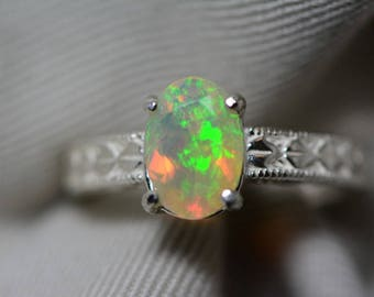 Opal Ring, 1.06 Carat Solid Faceted Opal Ring Appraised at 600.00, Sterling Silver, Genuine Opal Jewelry, October Birthstone, Size 7