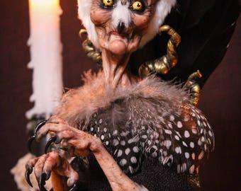 OOAK Fantasy creature- Lady Owla- Medium to the mist worlds