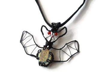 Wire Wrapped Druzy Bat Pendant Necklace, Vampire Bat, Gothic Pendant