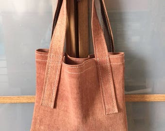 Mini leather tote bag color squirrel faded effect stretch