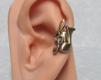 Treble & Quarter Musical Note Ear Cuff ' left ear '