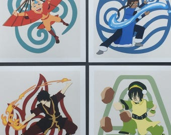 Avatar The Last Airbender Inspired 5x5 Digitally Edited Papercut Prints