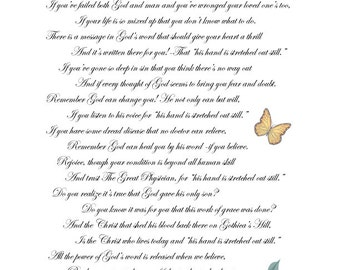 God's Hand Printable Inspirational Poem for hope in healing, forgiveness, and faith. A beautiful gift of God's love.