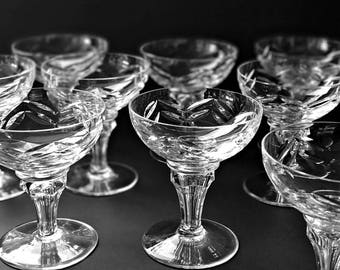 2 Leerdam Crystal Champagne Glasses Cut Crystal Coupe Cocktail Glasses