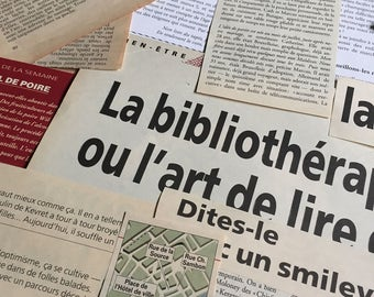 French Newspaper and book clipings * Ephemera Pack 30+ pieces