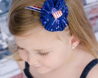 USA Flag Headband, July 4th Headband, Patriotic Headband, Glitter Headband, Red White Blue Headband, Newborn Photo Prop, Independence Day
