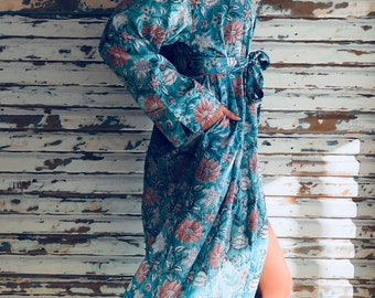 Kiyomi Green with Pink Flower Print Maxi Kimono Robe Dressing Gown, 100% Indian Cotton, Byron Bay, Mothers Day, Gift, Love