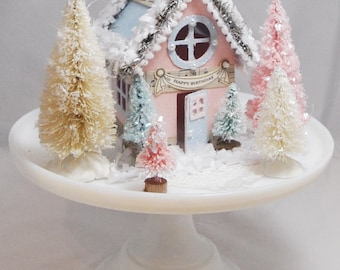 Winter Onederland House Centerpiece, Putz House, Glitter House, Christmas Decoration, Miniature House, Winter Birthday, Holiday Village