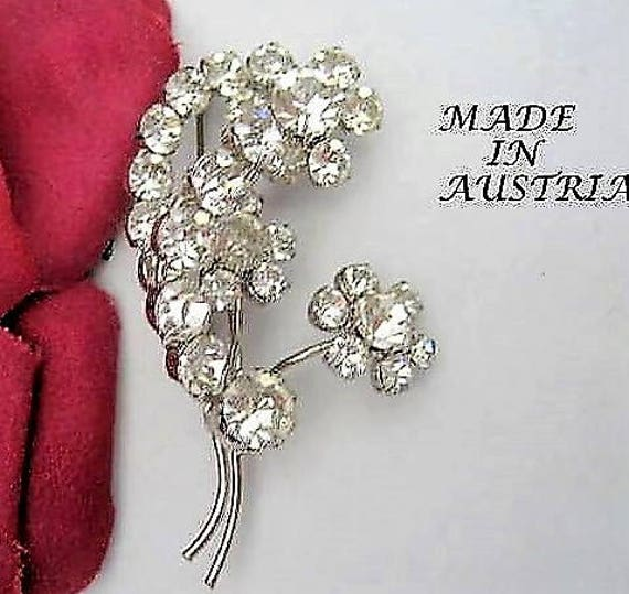 Clear Crystal Brooch, Signed Made In Austria,  Prong Set Stones - Mid Century Brooch