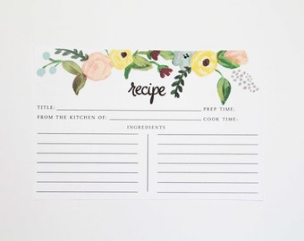Floral Hand-Painted Recipe Cards
