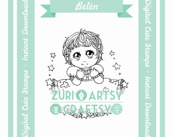 Belén, Digital Stamp, Cute Girl, Scrapbooking Digital Stamp, Instant Download, Zuri Artsy Craftsy