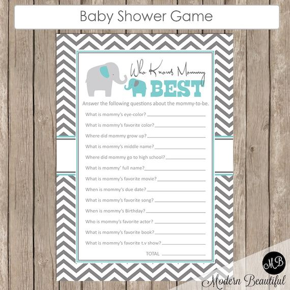 Awesome Baby Shower Game Who Knows Mommy Best Elephant Theme Who Know