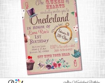 Alice in WONDERLAND Birthday Invitation, PRINTABLE Alice in ONEderland Birthday Invite, First Birthday,Digtal File
