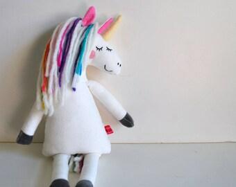 Unicorn Plushie in Velveteen - Plush - Rainbow - Magical - Stuffed Animal - Horse - Doll