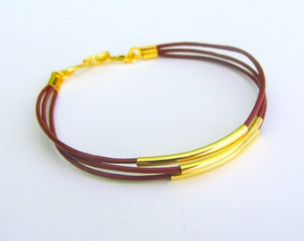 Skinny Leather Bracelet with Gold Tubes