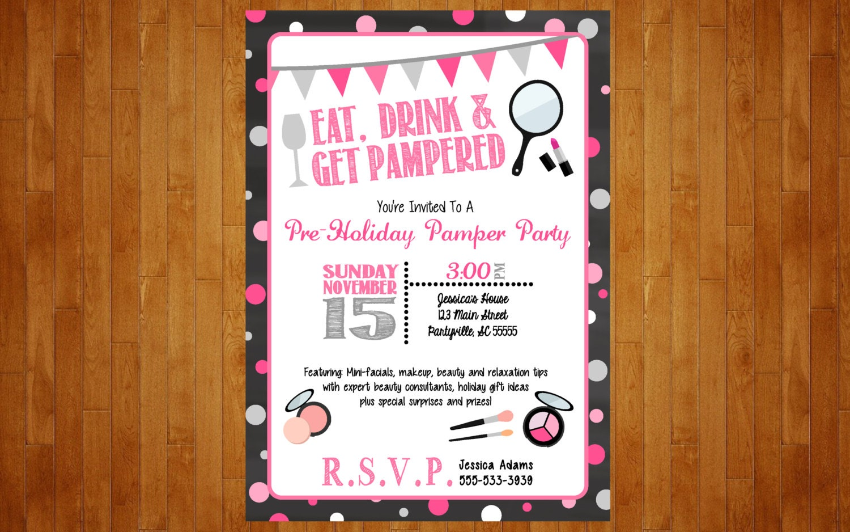 Make-up Party Invitation or Lingerie Bachelorette Spa Pamper