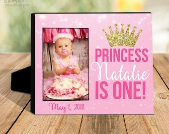 birthday girl gift   princess first birthday photo frame   gold glitter crown picture frame   sparkly any age photo frame  MFBD-001