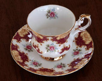 Royal Dover England Teacup & Saucer Floral, Merlot and Gold Royal Dover bone china