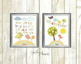 baby boy nursery decor art kids art kids room decor baby girl nursery bird alphabet numbers tree  Birdies School Set of 2 prints