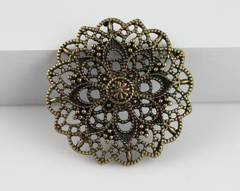4pcs Antique Bronze Filigree Hollow Flower Connectors Jewelry Findings 40x3mm