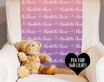Personalized Blanket - Baby Name Blanket - Receiving Blanket - Swaddle Blanket - Baby Shower Gift - New Baby Gift - Custom Baby Blanket