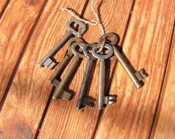 Vintage metal keys, Set of 6 skeleton old keys, Brass keys, Collectibles keys, Antique keys, Rustic home decor