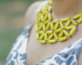 golden yellow custard rice wooden geometric mosaic necklace