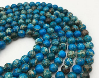 """2.0mm Large Hole Smooth ImperialJasper Gemstone Round Loose Beads Size 8mm/10mm Approx 15.5"""" per Strand.R-S-IMP-0223"""