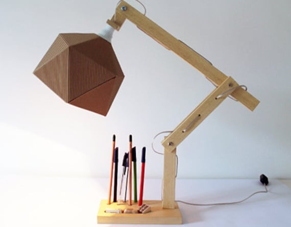 Desk lamp table lamp in wood and paper wooden lamp aloadofball Choice Image