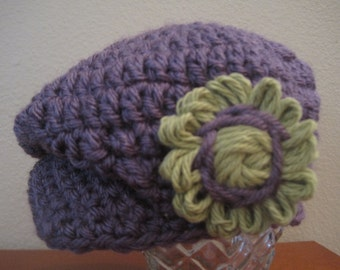 Girl's Donegal Cap in Purple (Newborn to 3 months) -Ready to Ship -