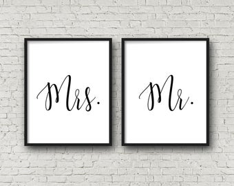 Mr & Mrs Signs, Wedding Signs, Engagement Signs, Wedding Decor, Master Bedroom Decor, Gift For Wife, Printable Wedding, Anniversary Gift,