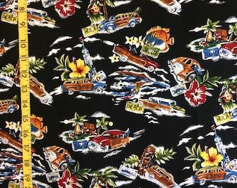 90s fabric Hawaiian fabric Novelty fabric by the yard  90s does 50s woody van surfer fabric Hoffman Fabric black Hawaiian surfboard fabric