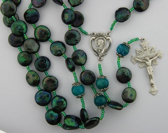 Coin Pearl Rosary, Freshwater coin pearls in Peacock green, Soocho Jade, Sterling Silver, strung rosary