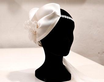 Wedding lace and silk organza flower headband