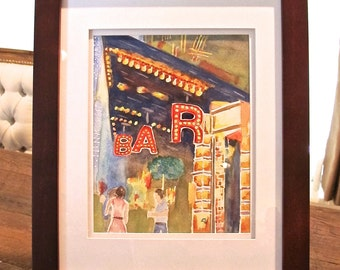 "Original Watercolor NYBAR 13"" x 16"" with frame (#104)"