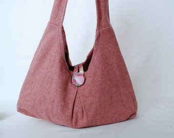 Free Shipping Vintage Pink Wool Hobo Purse With Floral Bark Cloth Style Lining