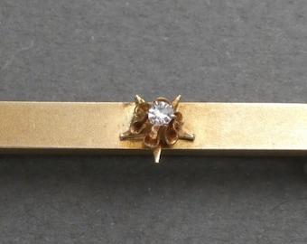 10K gold and diamond bar pin