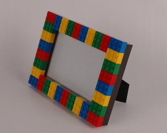 4x6 Picture Frame made with Red, Green, Yellow, and Blue LEGO® bricks