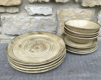 Pottery Dinnerware service for four 12pc handmade dishes