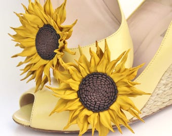 READY to SHIP leather sunflower shoe clips, flower shoe brooches, bridal shoe brooches, leather anniversary gift, leather shoe clips