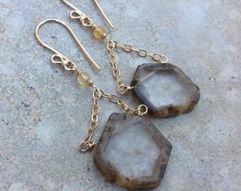Crystal QUARTZ earrings, Quartz slice earrings, 14k gold filled earrings, Watermelon Quartz, raw Quartz Earrings, handmade earrings, artisan