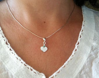Silver heart necklace, Sterling silver heart necklace, Heart necklace,Valentine's day gift, Small heart necklace, Love necklace, Heart charm