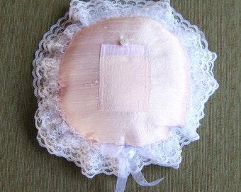 "Shell Pink Silk Shantung Tooth Fairy Pillow with White and Silver Accents---""Flora, Fauna, and Merryweather"""